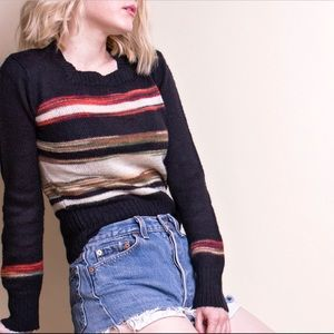 Vintage 70s space dye knit striped sweater
